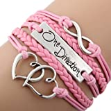 DP DESIGN® BRACCIALE PELLE ONE DIRECTION COLORE ROSA 1D HARRY STYLES INFINITO CUORI NUOVO