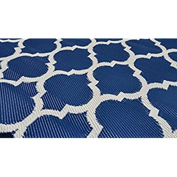Santa Barbara Collection 100% Recycled Plastic Outdoor Reversable Area Rug Rugs White Navy Blue Trellis san1001Blue 511 x 93 - Made in USA