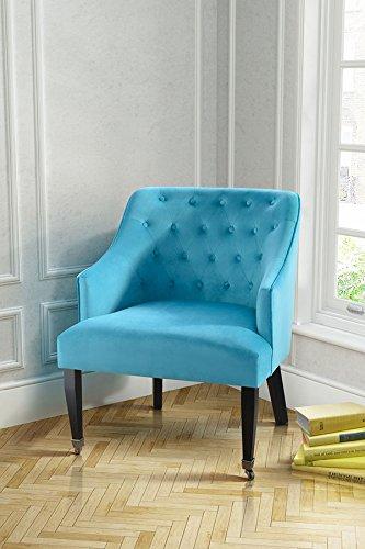 MY-Furniture - HOLLINGBERRY - Sillon tapizado con botones de alta calidad de color verde azulado