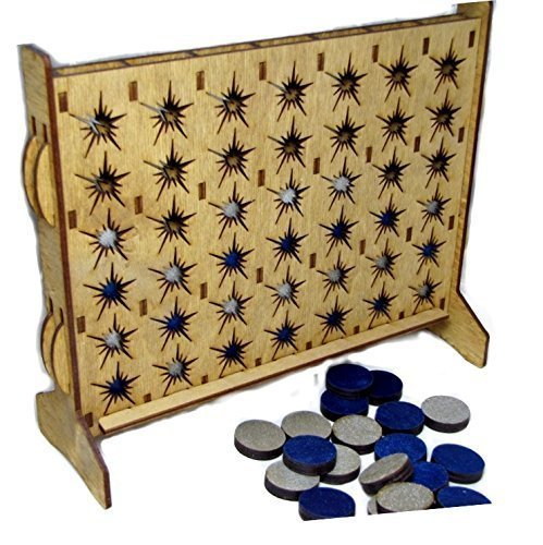 Four in a Row Travel -Convertible Fireworks Edition with Metallic Blue and Silver Pieces - 1