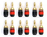 Aurum Pro Series 24k Gold plated Connector Banana Plugs - 12 Pack (6 Red 6 Black)