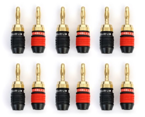 Aurum Pro Series 24K Gold Plated Connector Banana Plugs - 12 Pack (6 Red, 6 Black)
