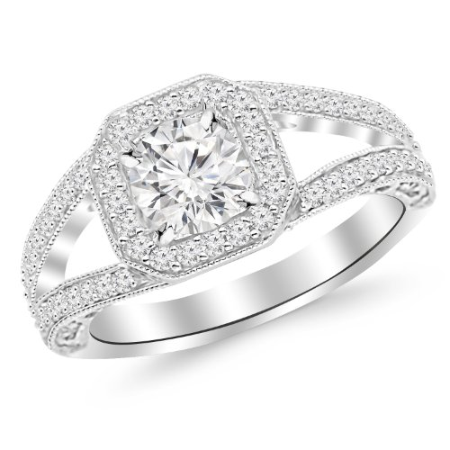 1.41 Carat Round Cut Square Halo Split Shank With Milgrain Diamond Engagement Ring (F-G Color, I1 Clarity)