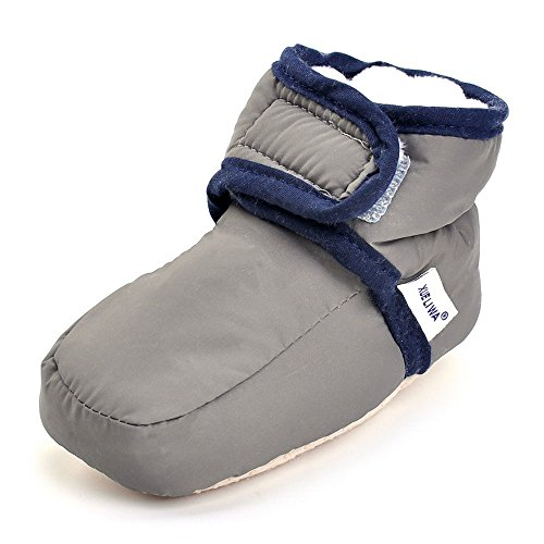 Enteer Infant Waterproof Snow Boots Premium Soft Sole Anti-Slip Warm Winter Prewalker Toddler Boots (13-18months, dark grey)