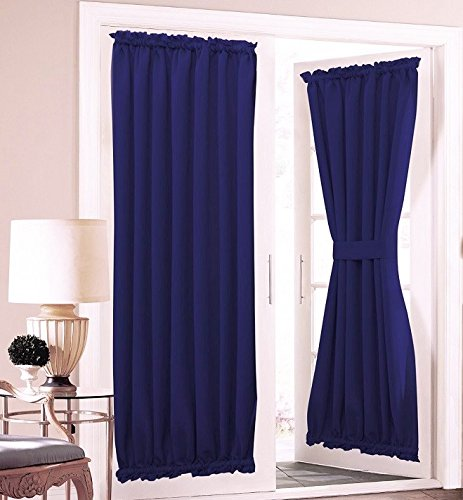 GorgeousHomeLinenDifferent Colors 1 French Door Foam Backing Insulated Heavy Thick Thermal Blackout Rod Pocket Curtain Panel with Tieback 55