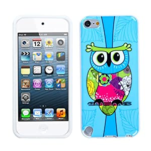 Tropical Blue Owl Design TPU Plastic Gummy Skin Phone Case for Apple iPod Touch 5