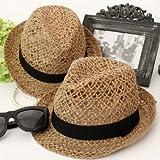 【ノーブランド品】涼しい麻素材◎ざっくり編みストローハット レディース 麦わら帽子 中折れ帽子 ボタニカル 天然素材