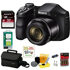 SONY Cyber-shot DSCH200B Compact Zoom Digital Camera in Black + Sony Class 10 32GB Secure Digital Memory Card + Sony Small System Case + Mini Charger for AA Ni-Mh 2700mAh Batteries w/ AC/DC & Universal Adapter + 25 Free Quality Photo Prints + Sony Cycle Energy USB Portable Lithium-Ion Power Supply & Adapter + Enhanced Lens Cleaning Kit