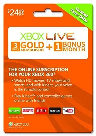Xbox Live 3 month Gold Membership + 1 bonus month [Online Game Code]