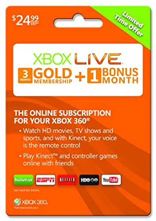 Xbox Live 3 month Gold Membership + 1 bonus month [Online Game Code]