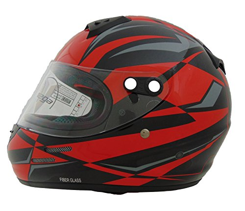 Vega Helmets KJ2 Junior Full Face Karting Helmet with Red Drift Graphic (Red, X-Large) (Red Drift Helmet compare prices)