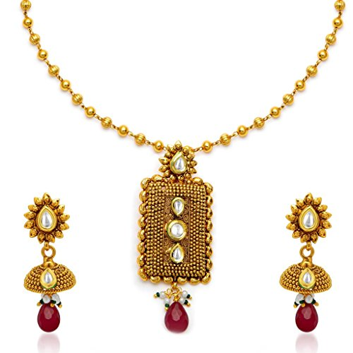 Sukkhi Appealing Antique Gold Plated Kundan Necklace Set
