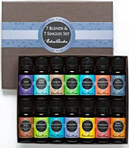 7) Synergy Blends and 7) Top Single Oils 100% Pure Therapeutic Grade Essential Oils- 14/ 10 ml of Hope, Stress Relief, Calming, Stay Alert, Purification, Meditation, Four Thieves, Cinnamon Bark, Peppermint, Eucalyptus, Lavender, Lemon, Rosemary and Sweet Orange Aromatherapy Oil