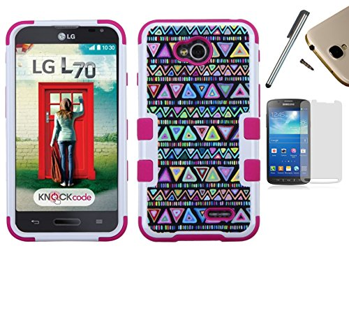 For Lg Optimus L70 D325 Ms323 / Lg Optimus Exceed 2 Vs450Pp Dual Layer Tuff Armor Impact Hybrid Soft Silicone Cover Hard Plastic Case + [World Acc] Tm Brand Lcd Screen Protector + Silver Stylus Pen + Black Dust Cap Free Gift (Mesh Black / Black)
