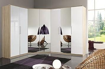 Schrankprogramm 3-tlg. Pearlglanz-White mit Abs. in Eiche-Dekor, 2-trg. Schrank B. 90 cm, 2-trg. Eckspiegelschrank, 3-trg. Schrank B: 135 cm