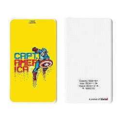 Hamee Livtel x Hamee Marvel Licensed Avengers 5000 mAh PowerBank with LED indicators and Reversible Micro-USB cable (Captain America / Yellow)