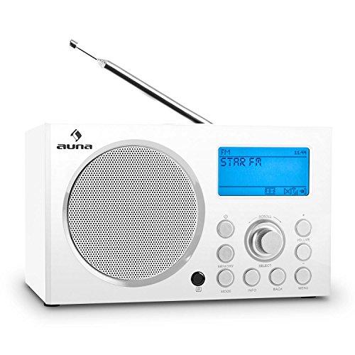 Auna IR-140 Wlan Radiowecker Internetradio DAB+ Radio mit W-Lan (USB-Ladestation, DAB-DAB+ Empfänger, UKW-Radiotuner, RDS, AUX, 2 Alarmzeiten, Sleep-Timer) weiß