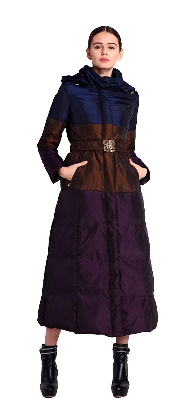 queenshiny Damen Lange Daunenjacke Mantel Jacke mit Kapuze unterhalb der Knie Luxus Winter