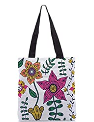 Snoogg Colorful Floral Seamless Pattern In Cartoon Style Seamless Pattern Designer Poly Canvas Tote Bag - B012FUHINE