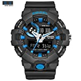 SMAEL AL35 Men's Sports Analog Digtal Wrist Watch Dual Quartz Movement Military Time Water Resistant with Backlight(Blue)