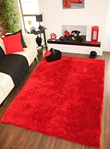 Ribbons Plain Ferrari Red Sparkle Pile Quality Yarn Thick Shaggy Rugs - 4 Sizes by The Rug House