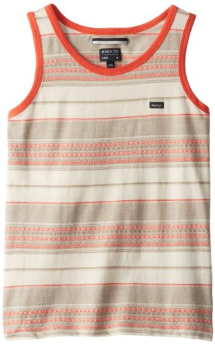 Rvca Big Boys' Canyon Stripe Tank, Vanilla, Large front-470787