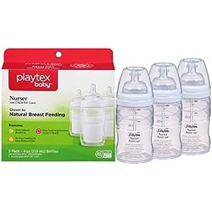 Playtex BPA Free Premium Nurser Bottles with Drop In Liners 3 Count, 4 Ounce