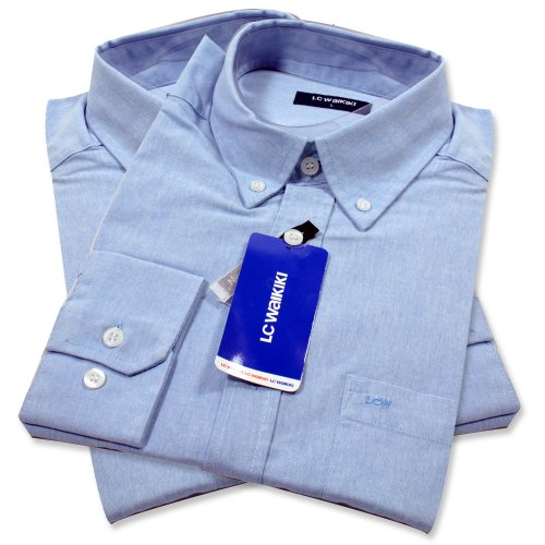 LC Walkiki Mens Gents Formal / Casual Fit Slim To Wide Dress Long Sleeve Shirt Blue