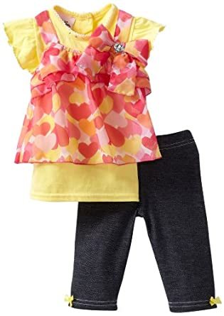 Little Lass Baby-Girls Infant 2 Piece Capri Set with Denim Look Leggings, Yellow, 18 Months