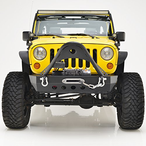 E-Autogrilles Jeep Wrangler JK Textured Black Rock Crawler Front Bumper with Stinger and Winch Plate
