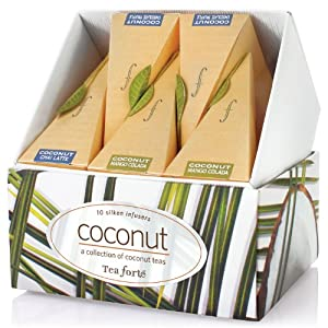 Tea Forte Petite Ribbon Box Coconut Collection - Ten Silken Pyramid Infusers from Tea Forte