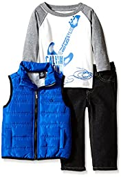 Calvin Klein Baby Boys\' Blue Puffy Vest with Tee and Pants, Blue, 12 Months