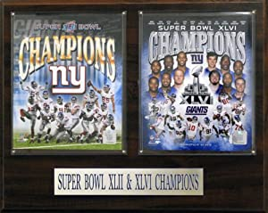 NFL New York Giants Super Bowl 42 and 46 Champions 12 x 15-Inch Plaque by C&I Collectables