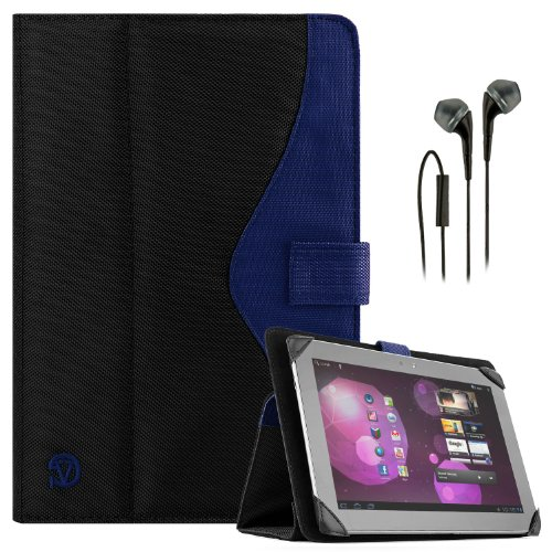 Soho Portfolio Stand - Nylon Detachable Flip Cover Case (Royal Blue) For Dell Latitude 10 Tablet Touch 10.1 Inch + Black Handsfree Earphone /Microphone Headphones