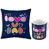 Fathers Day Gift Blue Love You Dad 12x12 Filled Designer Cushion & Printed Ceramic Designer Mug Pair