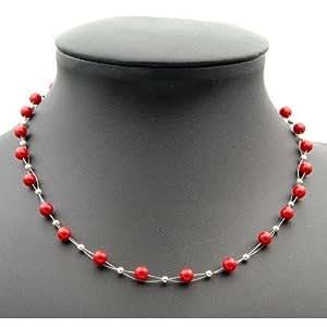 Kette Collier aus echter Koralle rot Korallenkette Halskette Halscollier Damen