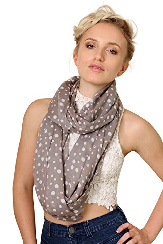 Women's Lady Bug Polka Dot Gray Infinity Circle Loop Scarf