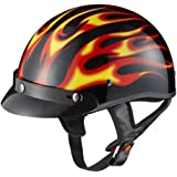 GLX Red Flame Motorcycle Half Helmet (Medium)