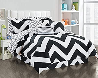 11 Piece Chevron Black/White Reversible Bed in a Bag Set