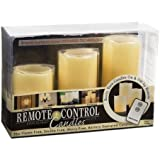 "Everlasting Glow LED Ivory Pillar Candles, Remote Control, Set of 3, 3"" x 4, 5, 6"" Height"