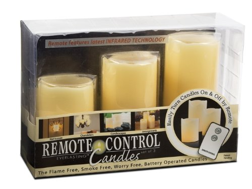 Everlasting Glow LED Ivory Pillar Candles, Remote Control, Set of 3, 3″ x 4, 5, 6″ Height