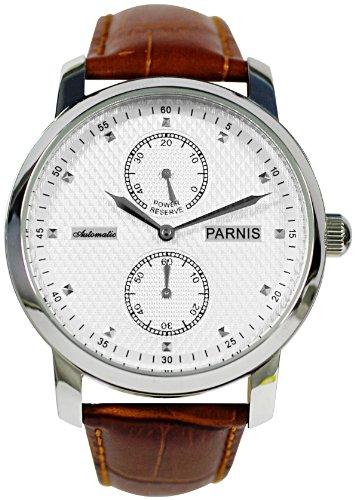 PARNIS Automatik Herrenuhr Modell 2001, mechanische Armbanduhr, SeaGull Uhrwerk, automatischer Aufzug, Herrenuhr, Edelstahl, Lederarmband, von LIV MORRIS