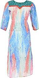 Pahel Creations Women's Georgette Regular Fit Kurta (Multi-Coloured, XXL)