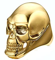 buy Mens Wedding Band Stainless Steel Gold Punk Style Skull 41Mm Size 9 By Aienid