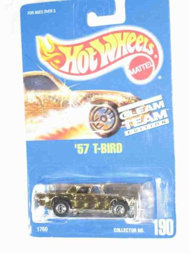 #190 '57 T-Bird Thunderbird Gleam Team Basic Wheels Gold Collectible Collector Car Mattel Hot Wheels - 1