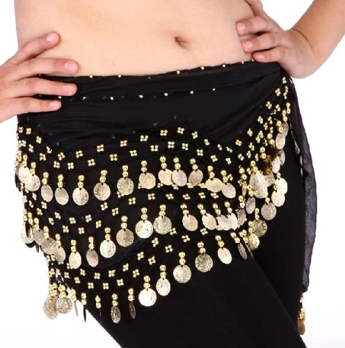 Buy Home Chiffon Dangling Gold Coins Belly Dance Hip Skirt Scarf Wrap Belt (Black)