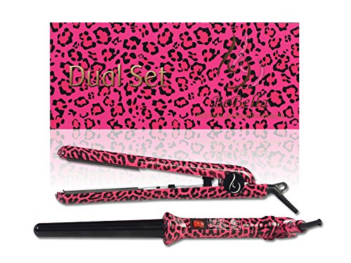 Bebella Dual Gift Set with 18-25mm Professional Clipless Hair Curling Iron and Professional 1.25