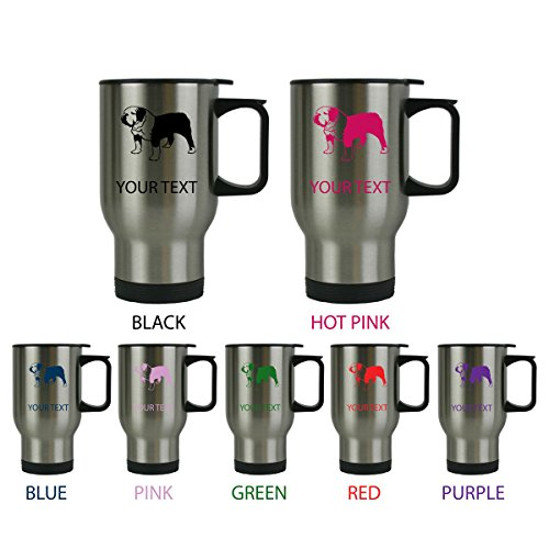 Custom Personalized English Bulldog 14 oz Silver Stainless Steel Travel Coffee Mug with Handle for Gift or Present! Contact Seller for Custom Text/Color or Leave a Gift Message at Checkout! (Bulldog Presents compare prices)