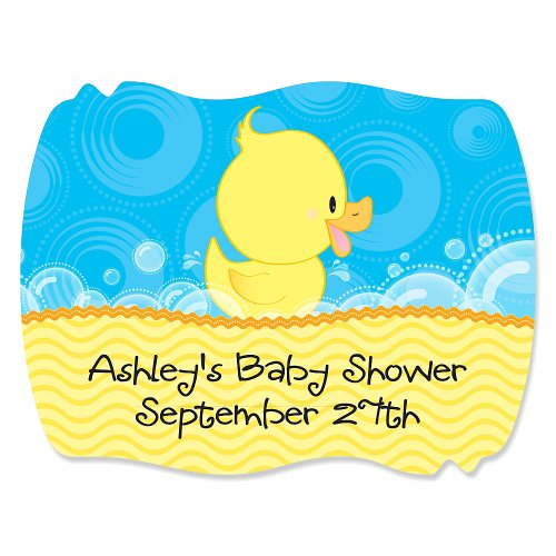 Ducky Duck - 16 Squiggle Personalized Baby Shower Sticker Labels