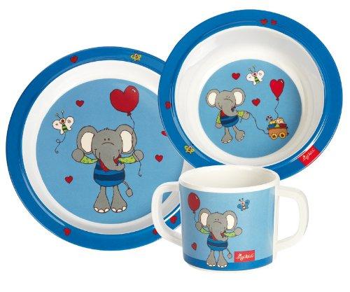 Sigikid-24405-Mdchen-und-Jungen-Melamin-Set-Teller-Schssel-Tasse-Elefant-Lolo-Lombardo-blau